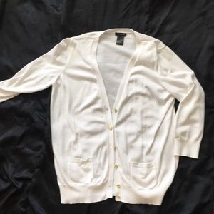 Ann Taylor white 3/4 sleeve cardigan sweater.